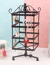 Fashion Black Four-layer Square Rotatable Earrings Wrought Iron Display Stand