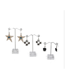 Fashion Medium Transparent Earring Display Stand Metal Acrylic Three-piece