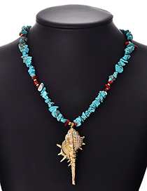 Fashion Blue Natural Stone Conch Necklace
