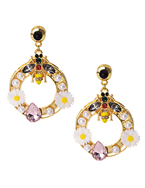 Fashion Gold Alloy Diamond-studded Pearl Flower Bee Earrings