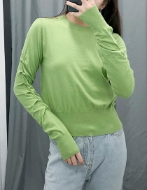 Fashion Green Round Neck Pleated Knit Sweater