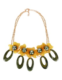 Fashion Olive Green Acrylic Flower-shaped Two-tone Necklace