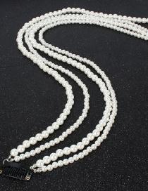 Fashion White Imitation Pearl Beaded Tassel Hair Clip