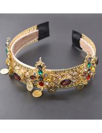 Fashion Headband Hollow Metal Crown Color Diamond Headband