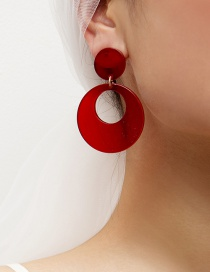 Fashion Red Fringed Round Geometric Acetate Stud Earrings