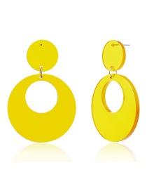 Fashion Yellow Fringed Round Geometric Acetate Stud Earrings