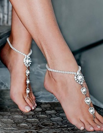 Fashion White K Geometric Drop-shaped Finger-to-bead-studded Gemstone Anklet