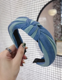 Fashion Green Denim Fabric Contrast Stripes In The Middle Knotted Thin Side Headband