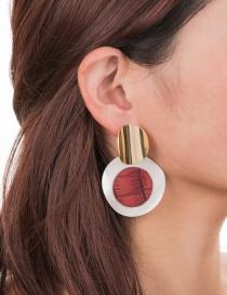 Fashion Red Circle Alloy Geometric Earrings