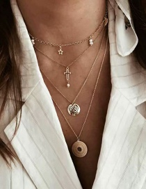 Fashion Gold Alloy Multilayer Round Cross Necklace