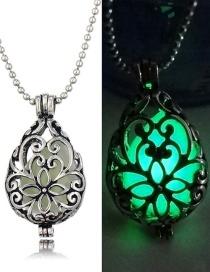Fashion Yellow-green Luminous Openable Luminous Flat Drop Hollow Necklace