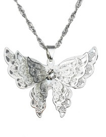 Fashion Silver 925 Silver Pointed Wings Butterfly Necklace