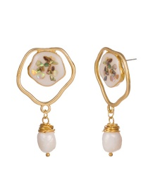 Fashion Gold Shaped Shell Weave Natural Freshwater Pearl Earrings