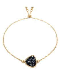 Fashion Gold + Black Cluster Natural Stone Triangle Cluster Bracelet