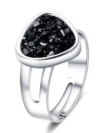 Fashion Silver + Black Cluster Love Crystal Cluster Natural Stone Ring