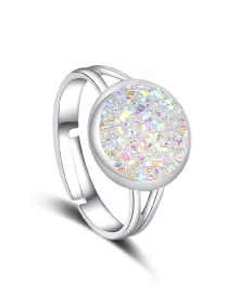 Fashion Silver + White Natural Crystal Cluster Adjustable Ring