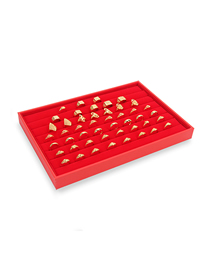 Fashion 7 Rows Of Rings Red Flannel Yellow Jewelry Display Tray