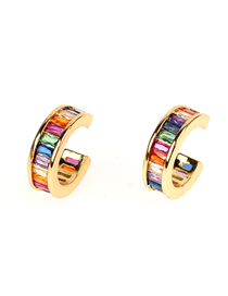 Fashion Color Zircon Flat Round Earrings