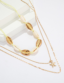Fashion Gold Braided Alloy Shell Starfish Multi-layer Necklace