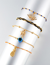 Fashion Gold Chain Coconut Tree With Diamonds Eye Pineapple Multilayer Anklet