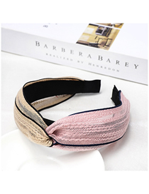 Fashion Beige + Pink Colorblock Headband Cross-knit Solid Color Headband