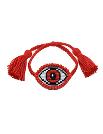 Fashion Red Embroidered Crystal Eye Multi-layer Bracelet