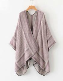 Fashion Leather Pink Striped Shawl