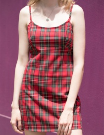 Fashion Red Plaid Strap Dress