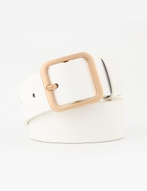 Fashion White-gold Buckle Square Buckle Belt