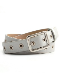 Fashion Light Gray Square Buckle Belt