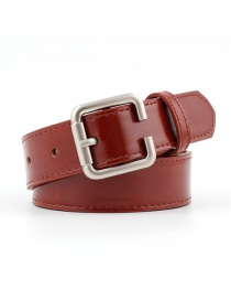 Fashion Red-brown Silver Buckle Belt