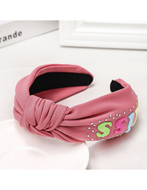 Fashion Watermelon Red Letter Rhinestone Headband Wide-brimmed Temperament Solid Color Letter Water Drill Hoop
