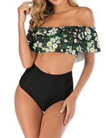 Fashion Black Daisy Stacked Ruffled Printed Tube Top Split Swimsuit