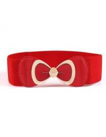 Fashion Red Large Bow Elastic Wide Girdle