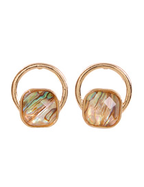 Fashion Round Alloy Natural Stone Irregular Shape Earrings