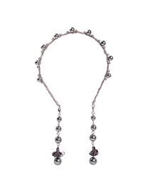 Fashion Silver Grey Alloy Water Rippled Diamond Pearl Pendant Headband