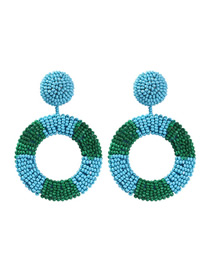 Fashion Blue + Green Alloy Rice Beads Round Earrings