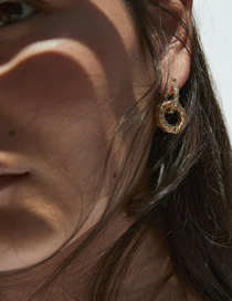 Fashion Gold Alloy Circle Chain Stud Earrings