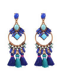 Fashion Blue Alloy Resin Tassel Earrings