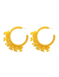 Fashion Yellow Alloy Rice Beads Round Earrings