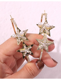 Fashion Gold Alloy Diamond Round Five-pointed Star Stud Earrings