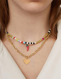 Fashion Gold Alloy Resin Rice Beads Love Small Pepper Necklace