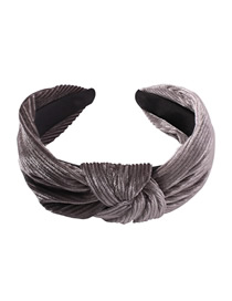 Fashion Gradient Gray Gold Velvet Knotted Headband