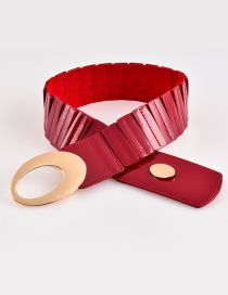 Fashion Z113 Red Faux Leather Openwork Elastic Belt
