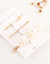 Fashion Gold Love Pearl Hair Clip Set