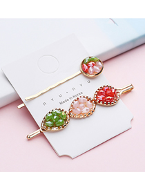 Fashion Red + Pink + Green Bezel Hair Clips Two-piece