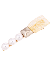 Fashion Yellow Pearl Hairpin