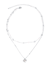 Fashion Platinum Boutique Chain - Square Crystal