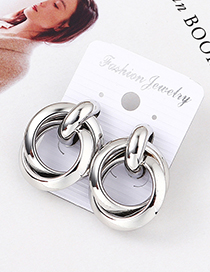 Fashion White K Disc Earrings