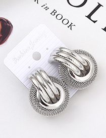 Fashion White K Grid Textured Earrings